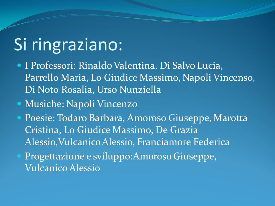 Si ringraziano: I Professori: Rinaldo Valentina, Di Salvo Lucia, Parrello Maria, Lo Giudice Massimo, Napoli Vincenso, Di Noto Rosalia, Urso Nunziella.