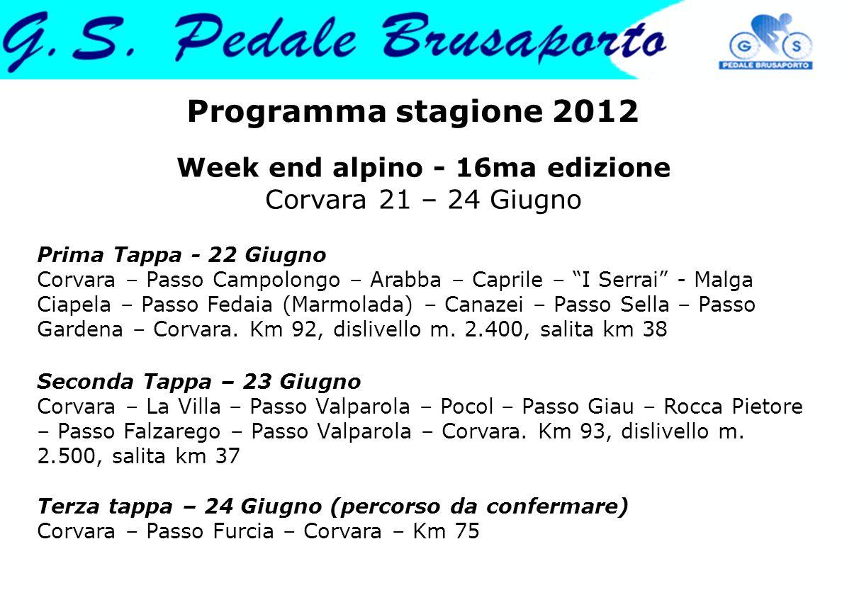 Week end alpino - 16ma edizione Corvara 21 – 24 Giugno