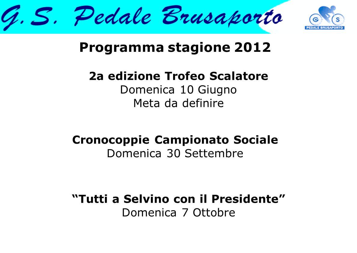 Programma stagione 2012 2a edizione Trofeo Scalatore Domenica 10 Giugno Meta da definire. Cronocoppie Campionato Sociale Domenica 30 Settembre.