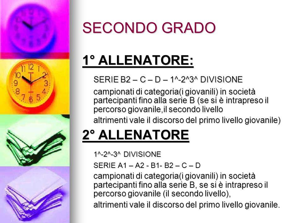 SECONDO GRADO 1° ALLENATORE: SERIE B2 – C – D – 1^-2^3^ DIVISIONE