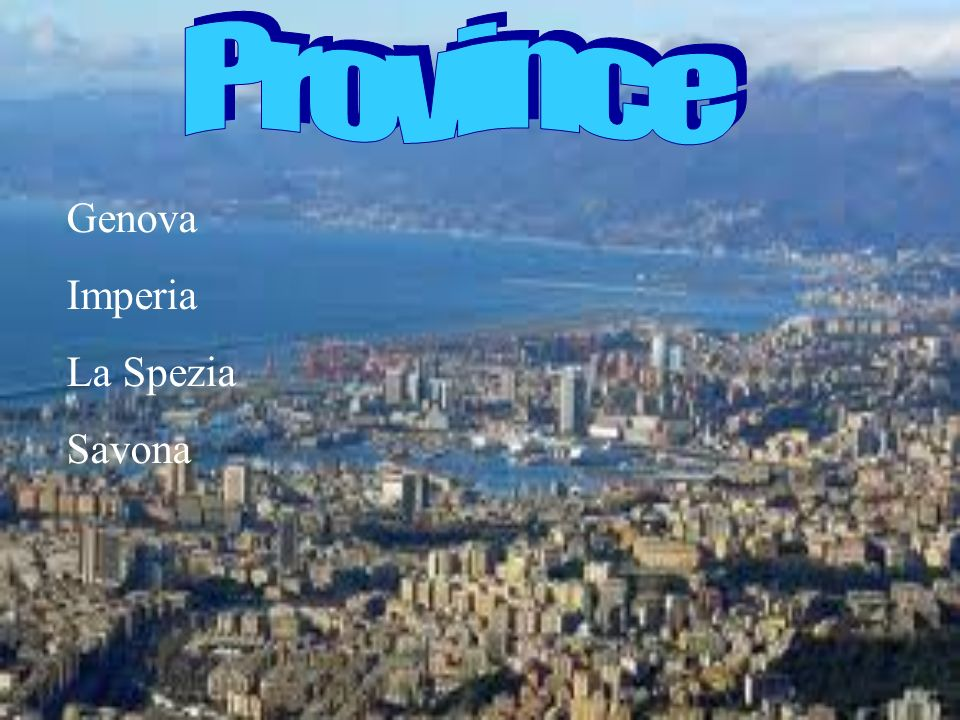 Province Genova Imperia La Spezia Savona