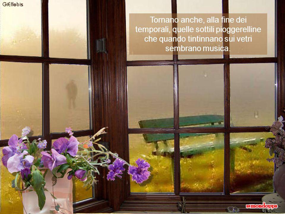 Tornano anche, alla fine dei temporali, quelle sottili pioggerelline che quando tintinnano sui vetri sembrano musica.