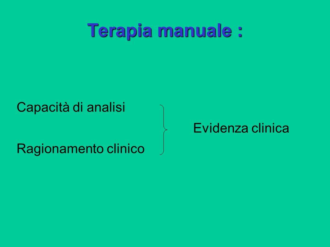 Terapia manuale : Capacità di analisi Evidenza clinica