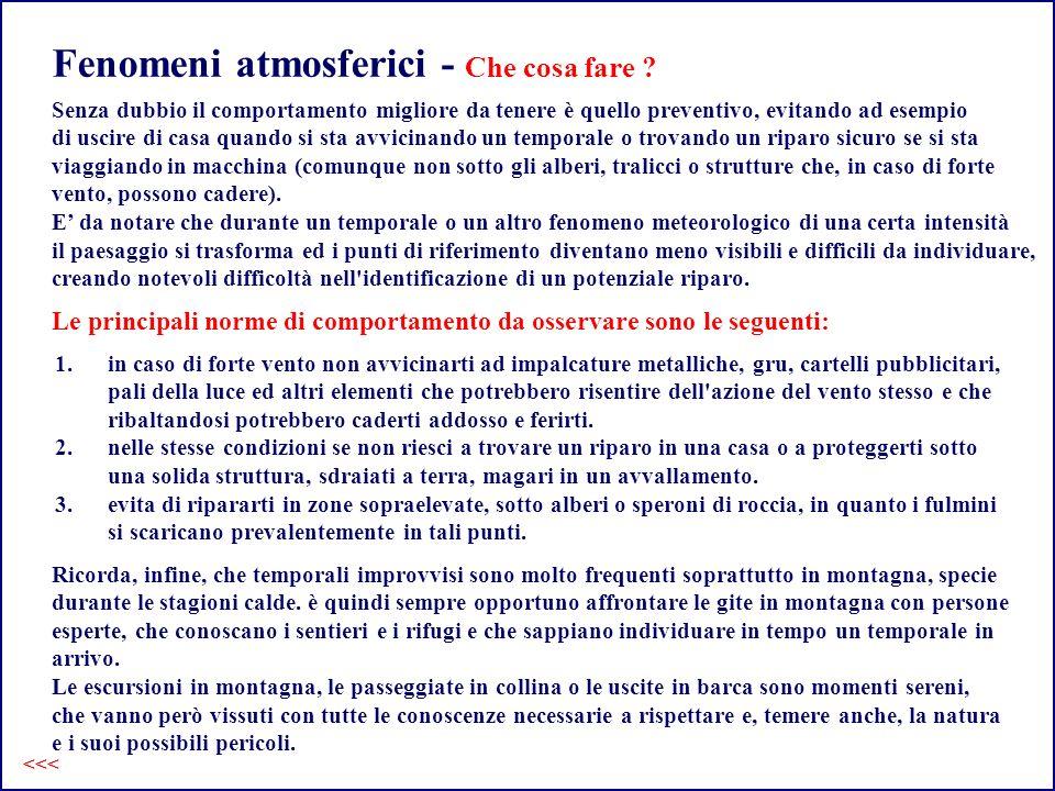 Fenomeni atmosferici - Che cosa fare