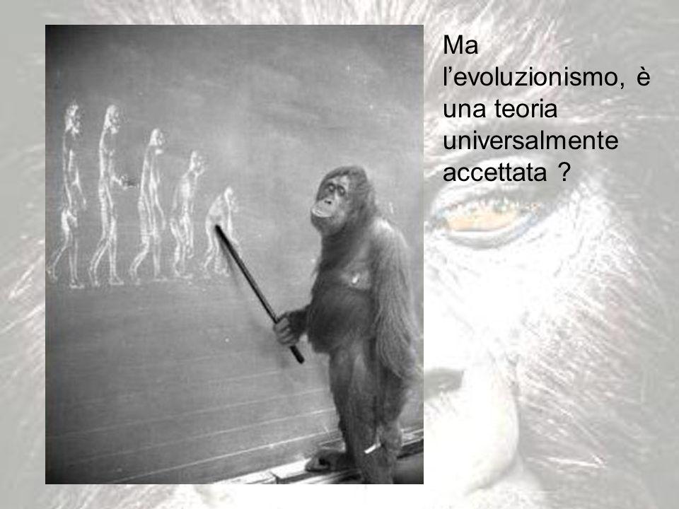 Ma l'evoluzionismo, è una teoria universalmente accettata