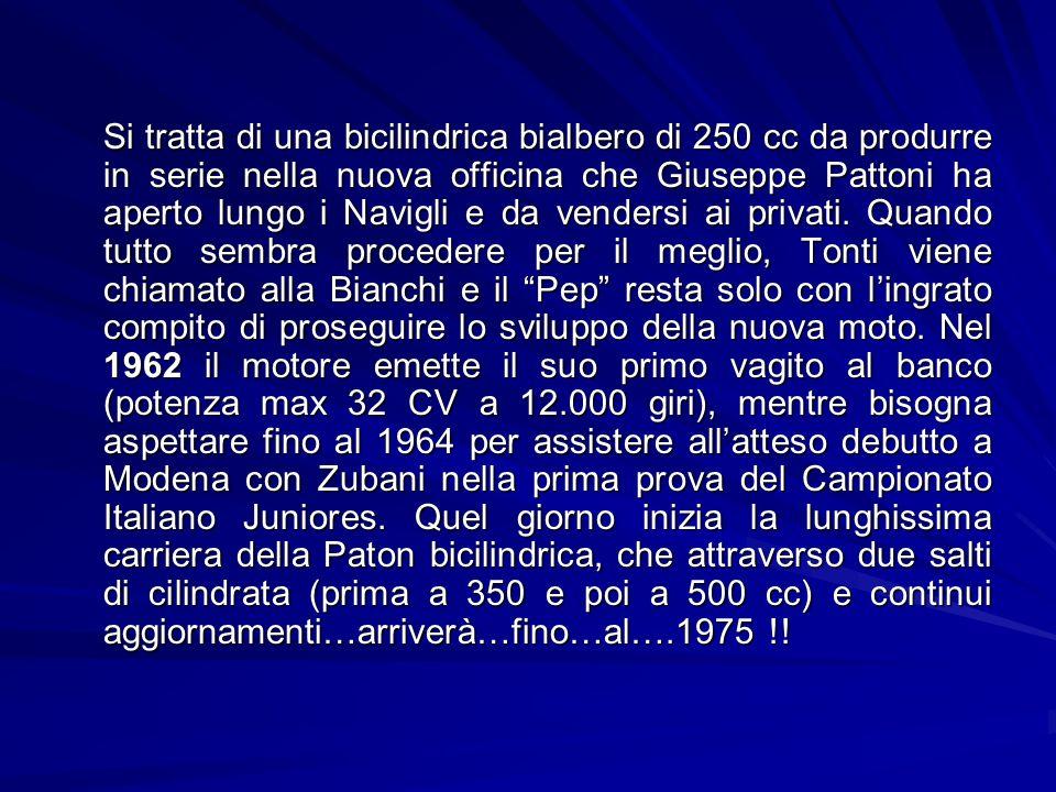 Si tratta di una bicilindrica bialbero di 250 cc da produrre in serie nella nuova officina che Giuseppe Pattoni ha aperto lungo i Navigli e da vendersi ai privati.