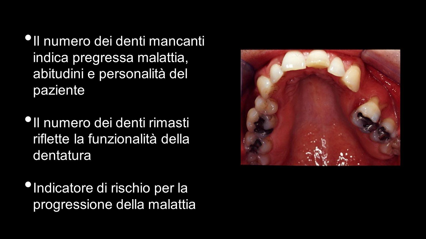 Il numero dei denti mancanti indica pregressa malattia, abitudini e personalità del paziente