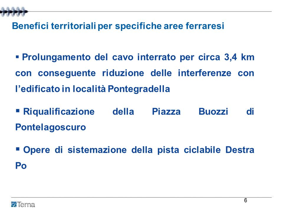 Benefici territoriali per specifiche aree ferraresi
