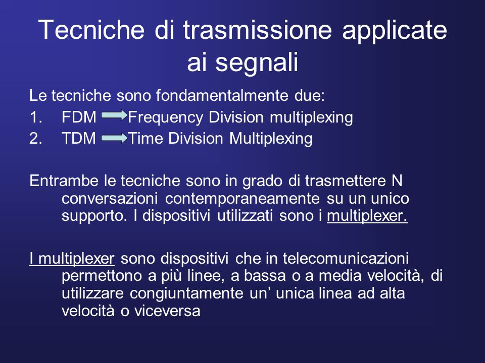 Tecniche di trasmissione applicate ai segnali