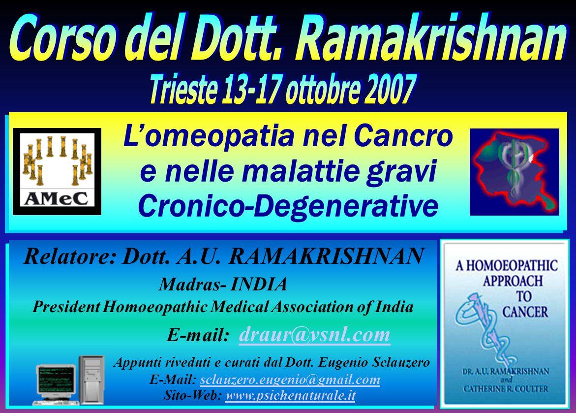 L'omeopatia nel Cancro e nelle malattie gravi Cronico-Degenerative
