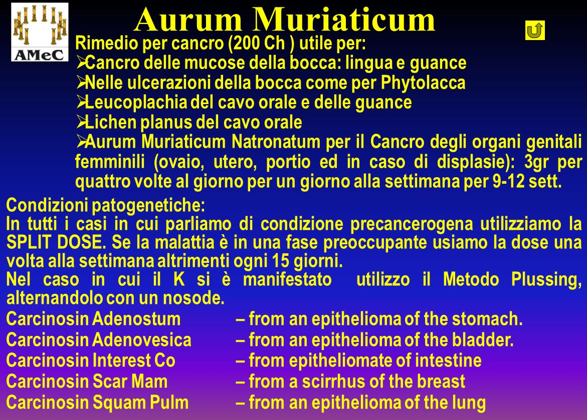 Aurum Muriaticum Rimedio per cancro (200 Ch ) utile per: