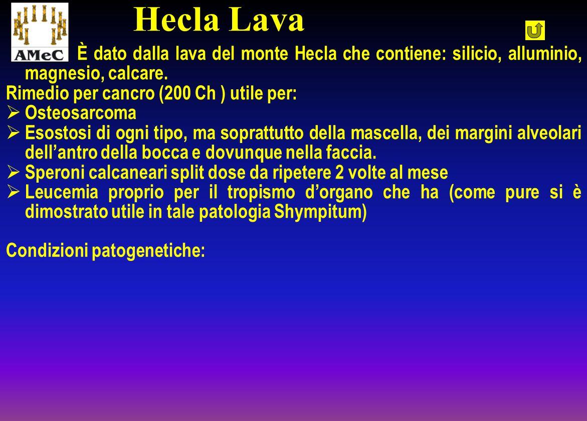 Hecla Lava È dato dalla lava del monte Hecla che contiene: silicio, alluminio, magnesio, calcare. Rimedio per cancro (200 Ch ) utile per: