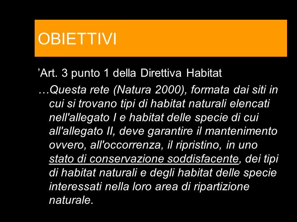 OBIETTIVI 'Art. 3 punto 1 della Direttiva Habitat