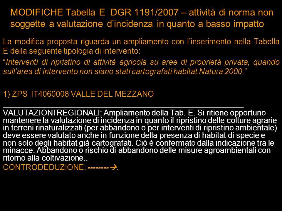 MODIFICHE Tabella E DGR 1191/2007 – attività di norma non soggette a valutazione d'incidenza in quanto a basso impatto