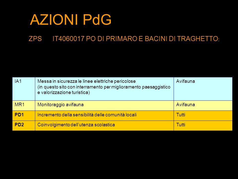 AZIONI PdG ZPS IT4060017 PO DI PRIMARO E BACINI DI TRAGHETTO; IA1