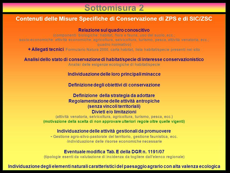 Sottomisura 2 Contenuti delle Misure Specifiche di Conservazione di ZPS e di SIC/ZSC. Relazione sul quadro conoscitivo.