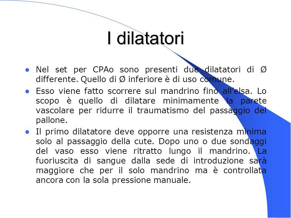 I dilatatori Nel set per CPAo sono presenti due dilatatori di Ø differente. Quello di Ø inferiore è di uso comune.