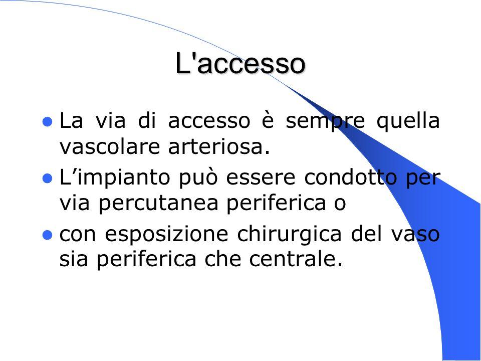 L accesso La via di accesso è sempre quella vascolare arteriosa.