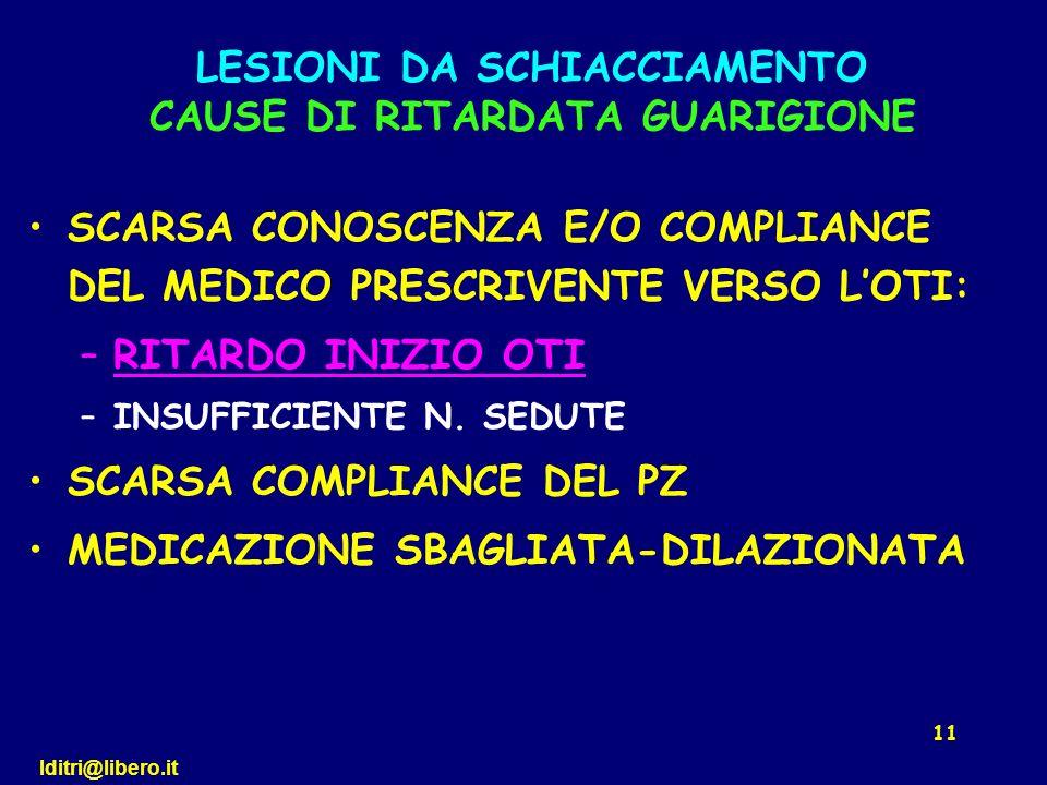 LESIONI DA SCHIACCIAMENTO CAUSE DI RITARDATA GUARIGIONE