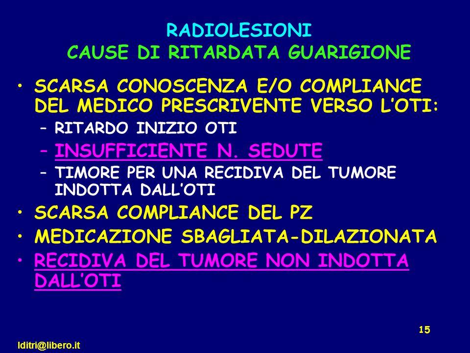 RADIOLESIONI CAUSE DI RITARDATA GUARIGIONE