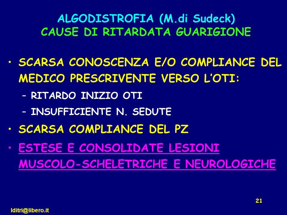 ALGODISTROFIA (M.di Sudeck) CAUSE DI RITARDATA GUARIGIONE
