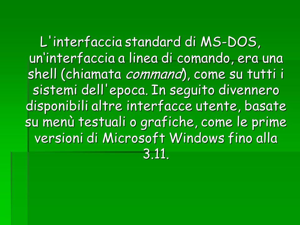 L interfaccia standard di MS-DOS, un'interfaccia a linea di comando, era una shell (chiamata command), come su tutti i sistemi dell epoca.