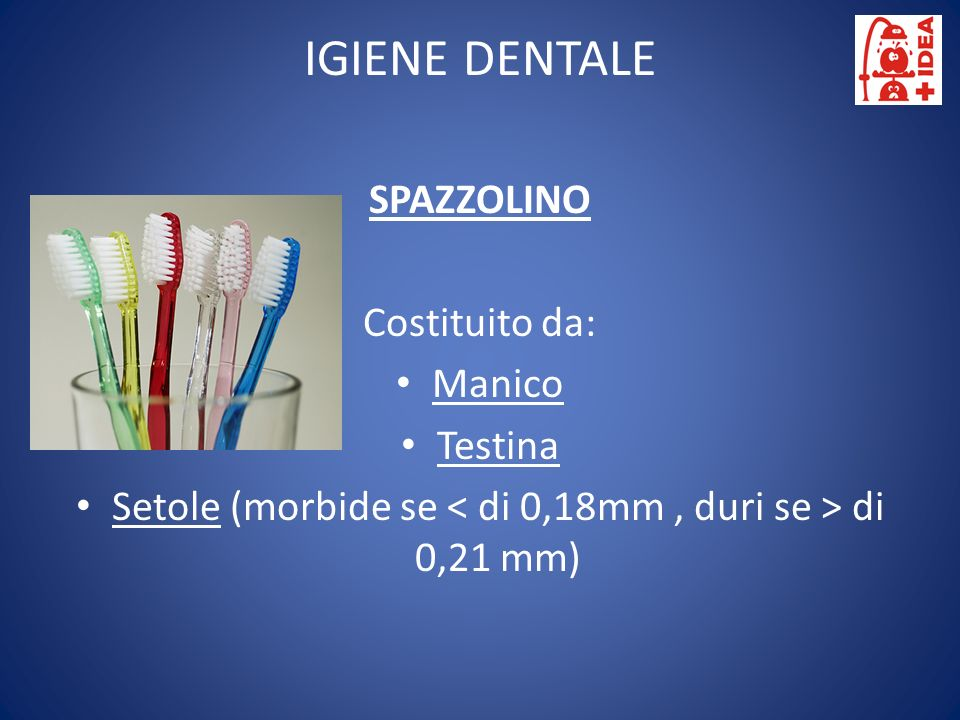 Setole (morbide se < di 0,18mm , duri se > di 0,21 mm)
