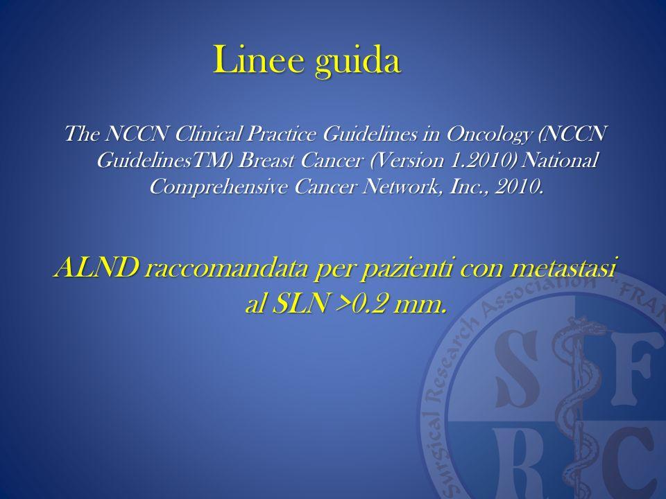 ALND raccomandata per pazienti con metastasi al SLN >0.2 mm.