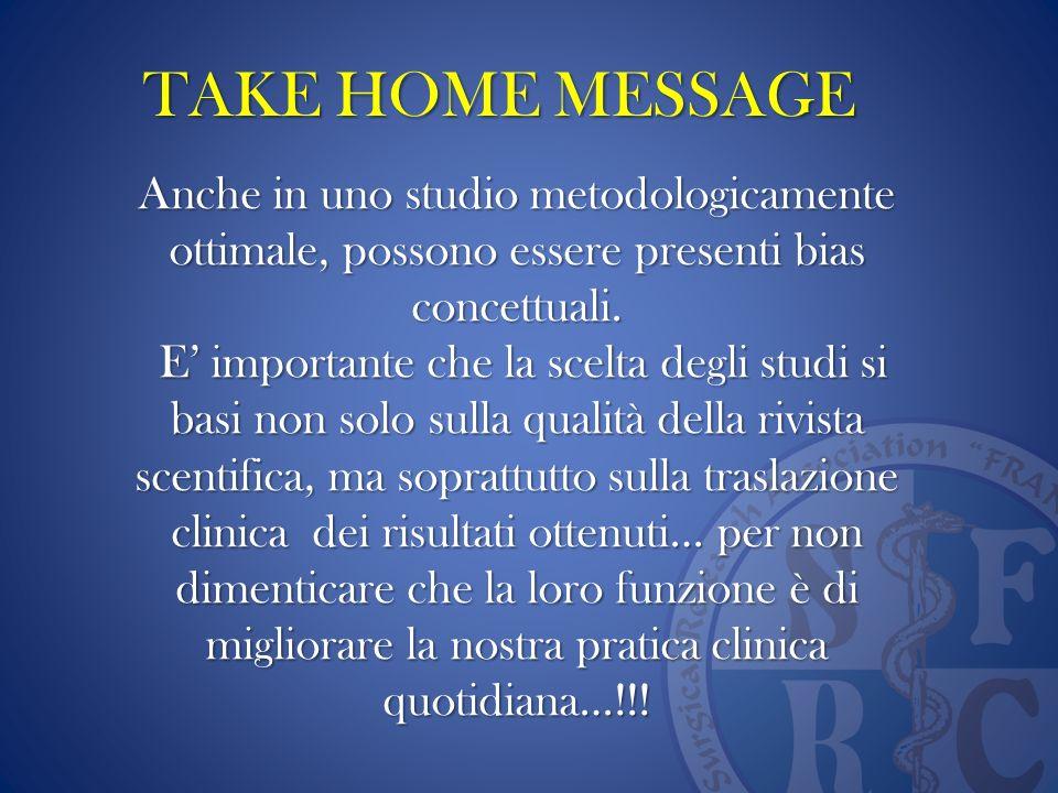 TAKE HOME MESSAGE Anche in uno studio metodologicamente ottimale, possono essere presenti bias concettuali.