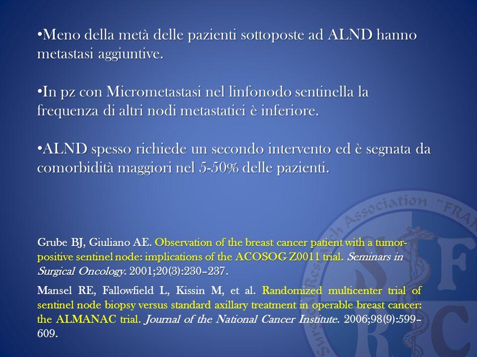 Meno della metà delle pazienti sottoposte ad ALND hanno metastasi aggiuntive.