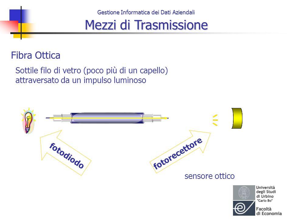 Fibra Ottica Sottile filo di vetro (poco più di un capello) attraversato da un impulso luminoso. 
