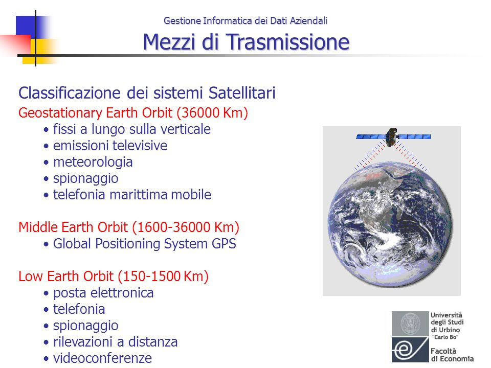 Classificazione dei sistemi Satellitari