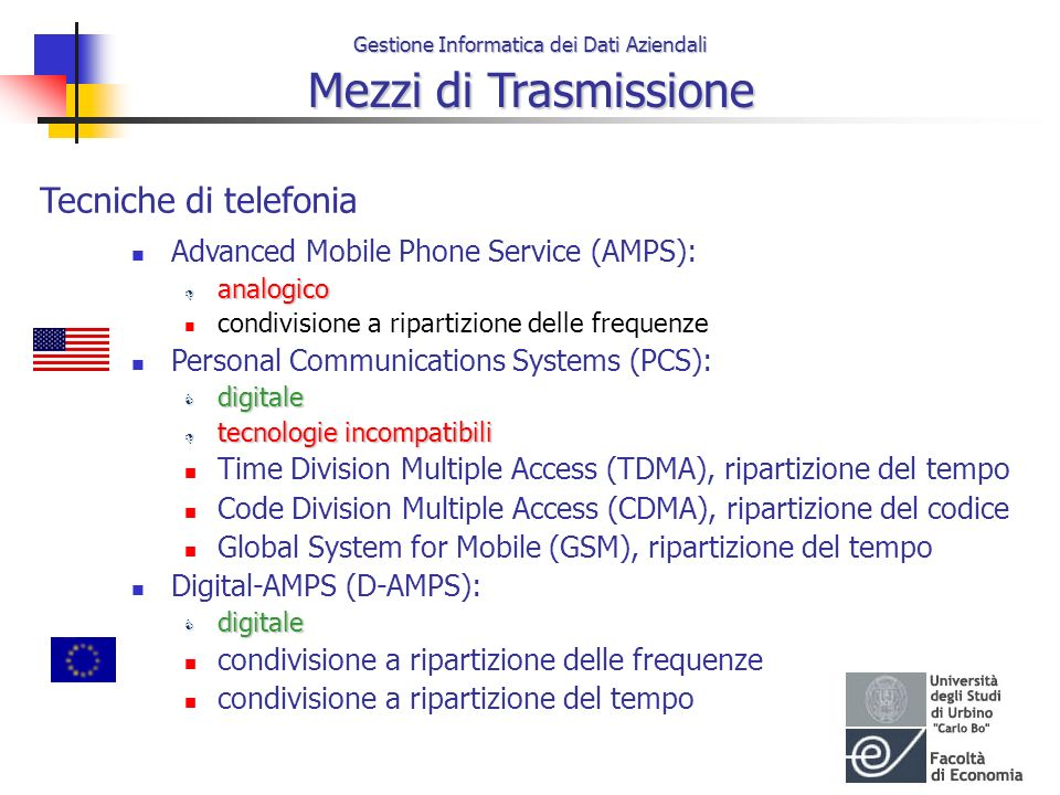 Tecniche di telefonia Advanced Mobile Phone Service (AMPS):