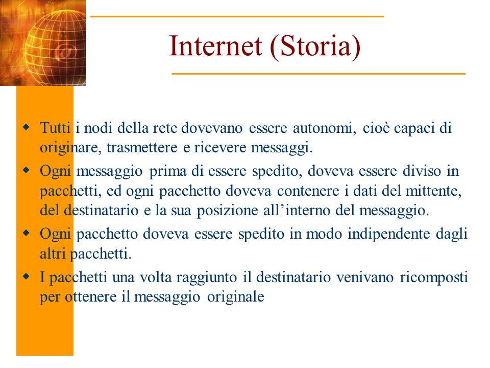 Internet (Storia) Tutti i nodi della rete dovevano essere autonomi, cioè capaci di originare, trasmettere e ricevere messaggi.