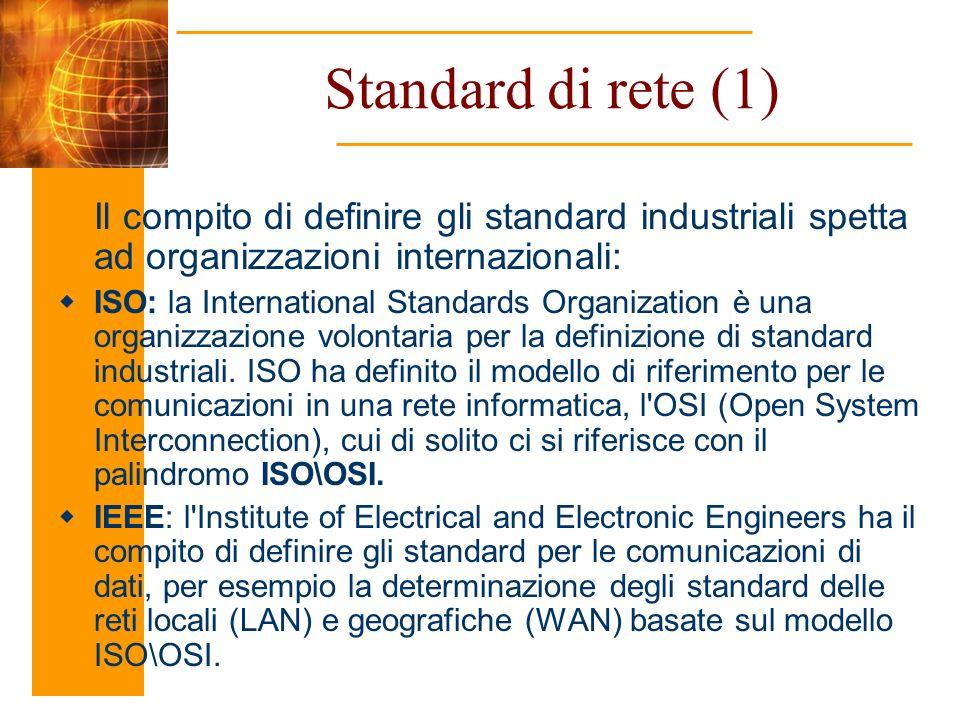 Standard di rete (1) Il compito di definire gli standard industriali spetta ad organizzazioni internazionali: