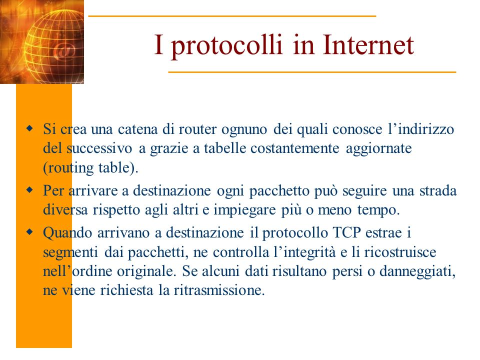 I protocolli in Internet
