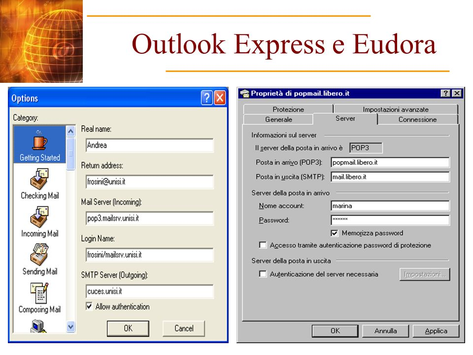 Outlook Express e Eudora