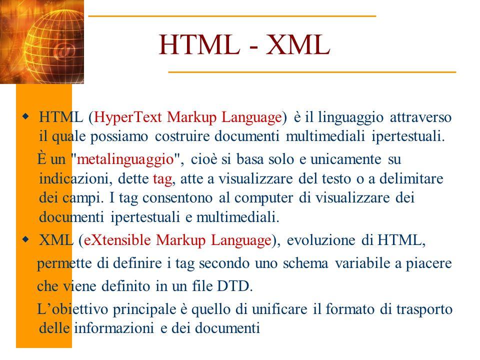 HTML - XML HTML (HyperText Markup Language) è il linguaggio attraverso il quale possiamo costruire documenti multimediali ipertestuali.