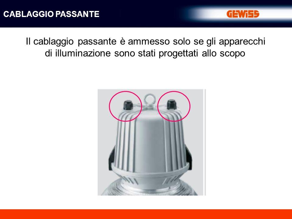 CABLAGGIO PASSANTE Il cablaggio passante è ammesso solo se gli apparecchi di illuminazione sono stati progettati allo scopo.