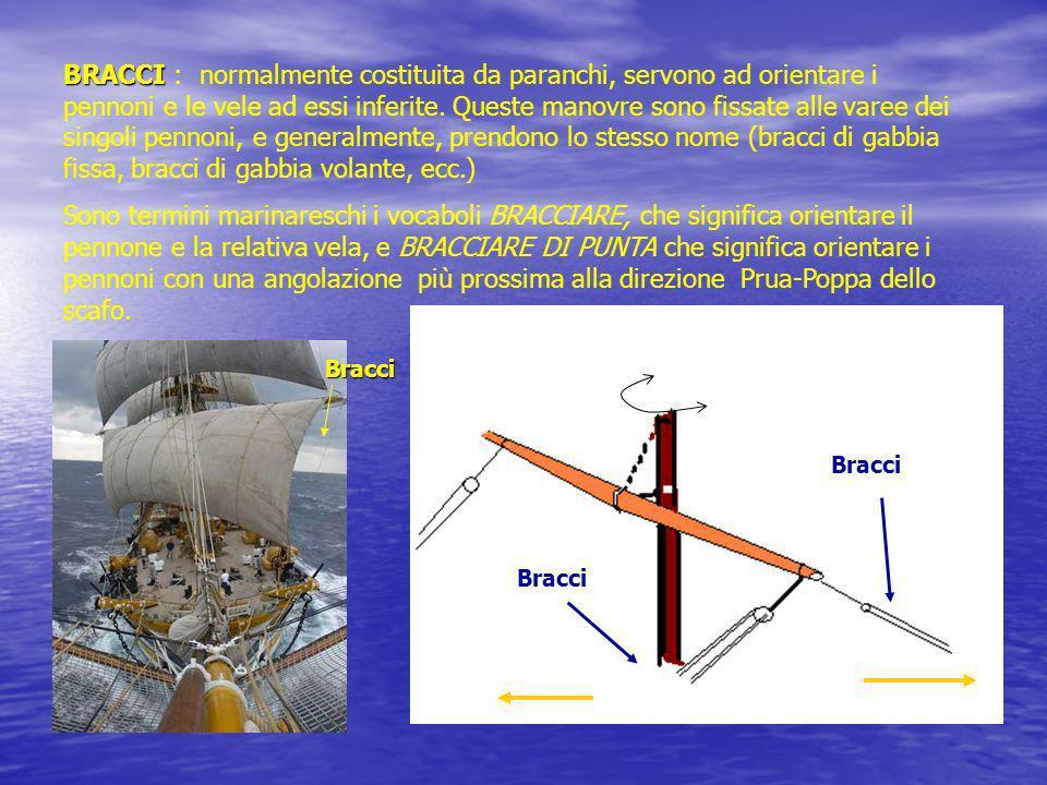 BRACCI : normalmente costituita da paranchi, servono ad orientare i pennoni e le vele ad essi inferite. Queste manovre sono fissate alle varee dei singoli pennoni, e generalmente, prendono lo stesso nome (bracci di gabbia fissa, bracci di gabbia volante, ecc.)