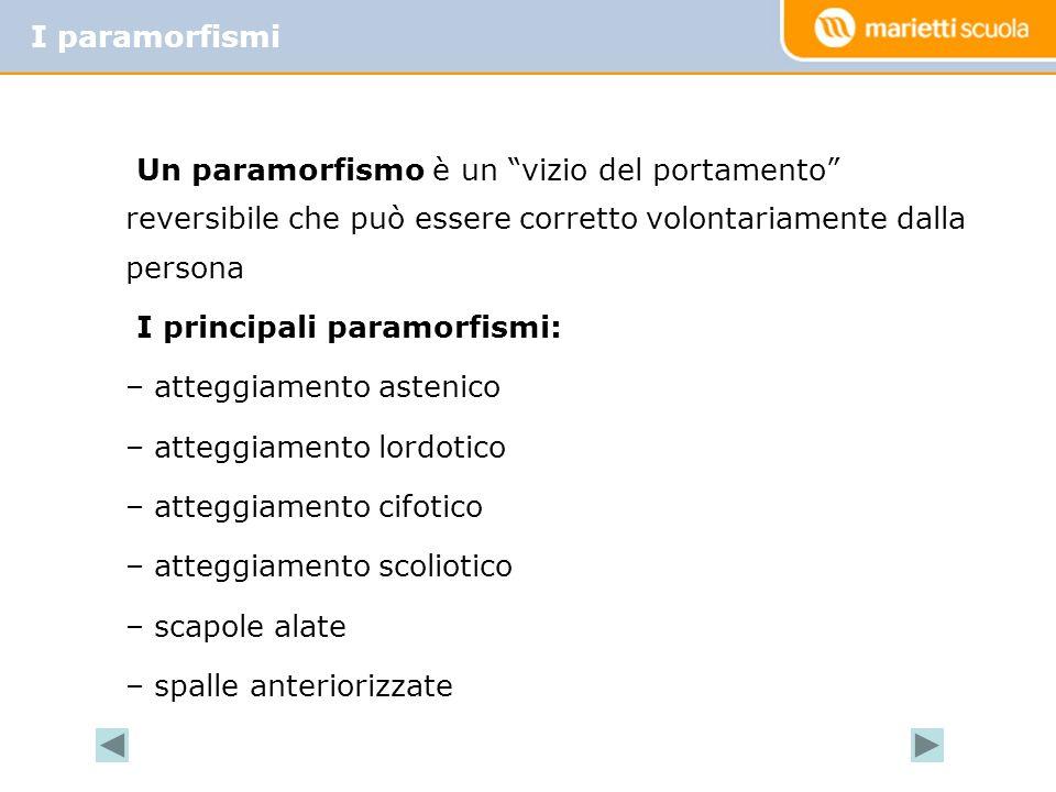 I paramorfismi Un paramorfismo è un vizio del portamento reversibile che può essere corretto volontariamente dalla persona.