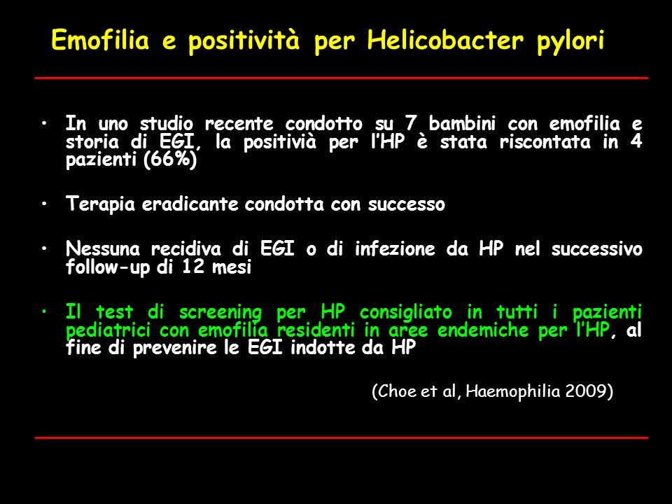 Emofilia e positività per Helicobacter pylori