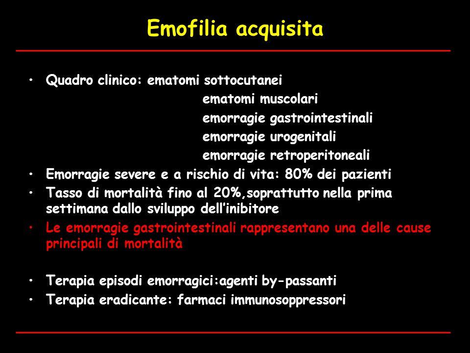Emofilia acquisita Quadro clinico: ematomi sottocutanei