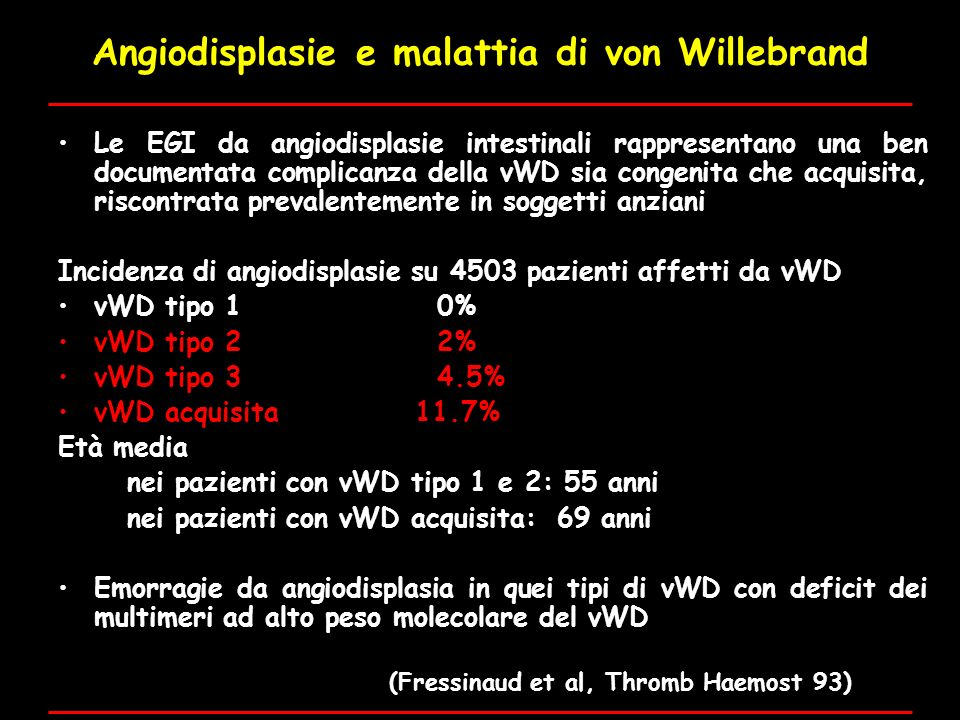 Angiodisplasie e malattia di von Willebrand