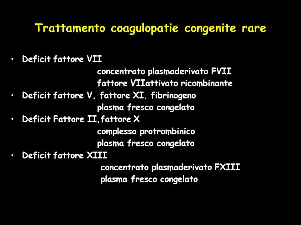 Trattamento coagulopatie congenite rare