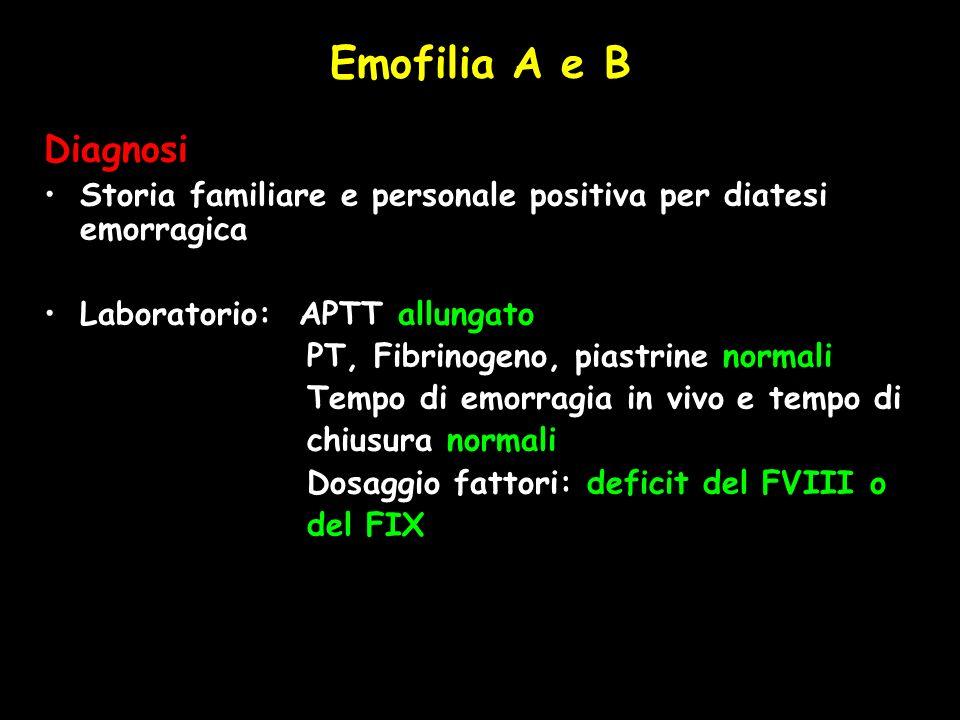 Emofilia A e B Diagnosi. Storia familiare e personale positiva per diatesi emorragica. Laboratorio: APTT allungato.