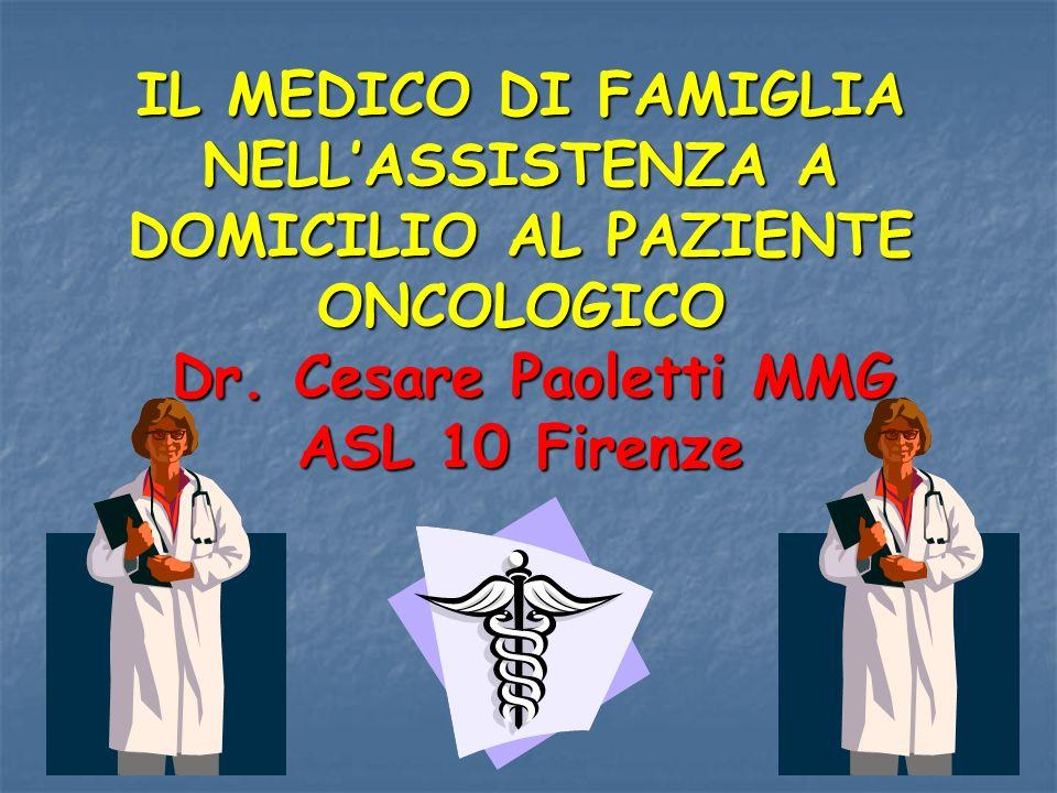 IL MEDICO DI FAMIGLIA NELL'ASSISTENZA A DOMICILIO AL PAZIENTE ONCOLOGICO Dr.