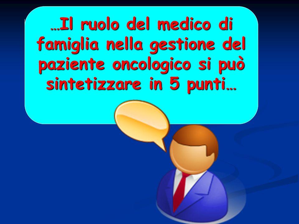 …Il ruolo del medico di famiglia nella gestione del paziente oncologico si può sintetizzare in 5 punti…