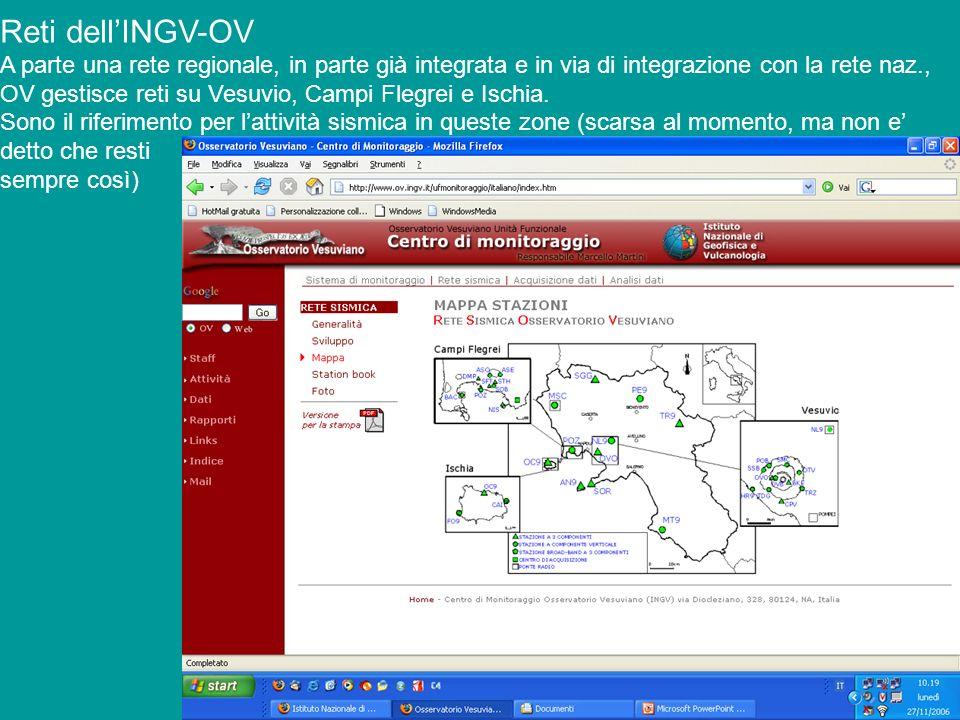 Reti dell'INGV-OV A parte una rete regionale, in parte già integrata e in via di integrazione con la rete naz.,