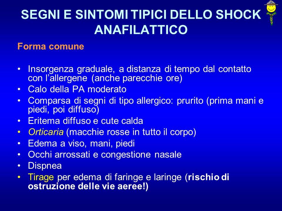 SEGNI E SINTOMI TIPICI DELLO SHOCK ANAFILATTICO